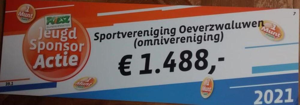 Opbrengst Poiesz jeugd sponsoractie.
