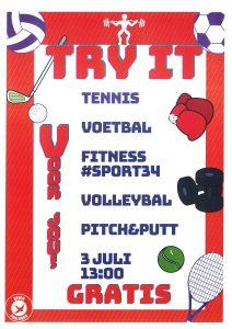 Zaterdag 3 juli Try IT, van 12 tot 18 jaar.